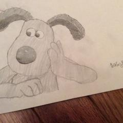My black and white gromit drawing